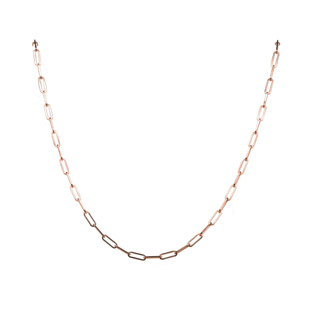 Rose Gold Paperclip Chain Necklace, 16 Inches