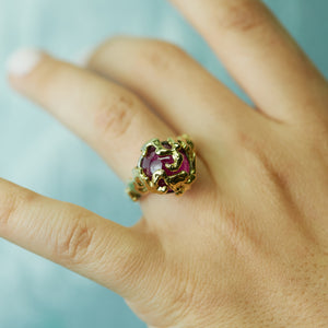 Silver, Gold and Pink Tourmaline Coral Ring - Size 7