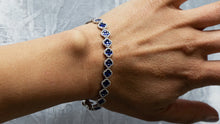 Load image into Gallery viewer, Blue Sapphire and Round Diamond Halo Clover Bracelet