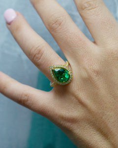 Emerald Pear and Round Diamond Halo Ring