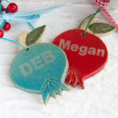 Personalized Christmas ornaments, ceramic pomegranates