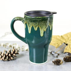 Hunter Green Ceramic Travel Mug with handle, Moss Green fall decor