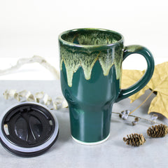 Rustic woodland hunter green and moss travel mug, with silicone lid, fall autumn kitchen decor