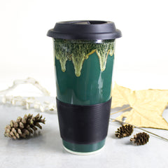 Hunter Green and Moss, travel coffee mug, to go cup, fall decor
