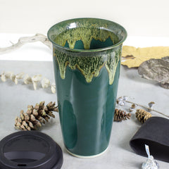 hunter green to go mug, woodland moss fall colors travel mug
