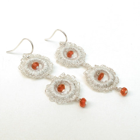 Fine Silver Small Hoop Crocheted Carnelian Earrings
