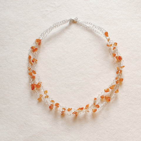 Carnelian gemstone Necklace, Silver Crochet Beach Summer Jewelry