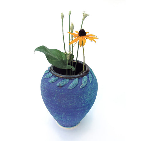 Modern Oval Ceramic Blue Purple Turquoise Vase
