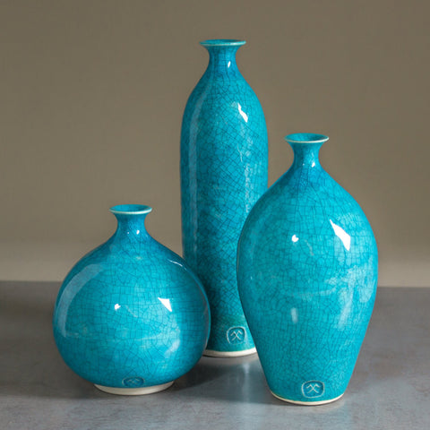 Set of Three Ceramic Geometric Aqua turquoise Vessels