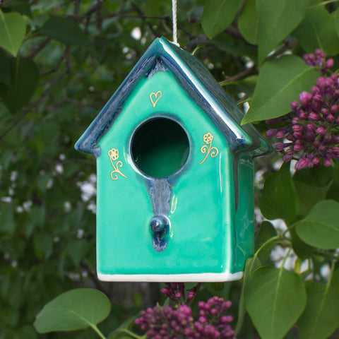 Ceramic Hanging Mint Green Blue Bird House