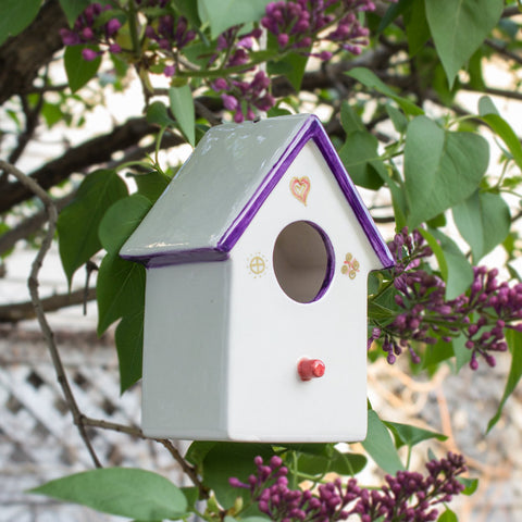 Ceramic Hanging White/Purple Bird House with gold