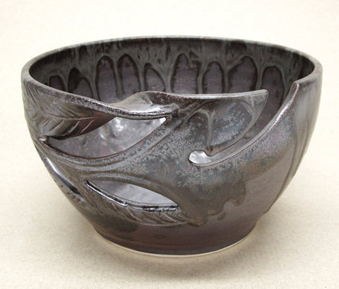 LARGE Silver Brown Yarn Bowl with twisted leaf cut out design