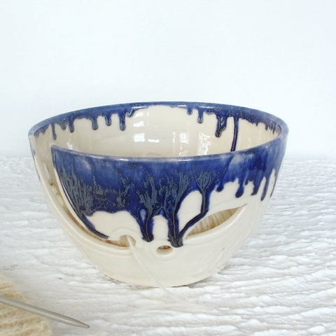 Ceramic Yarn Bowl, Knitting Crochet Portable Traveling Bowl