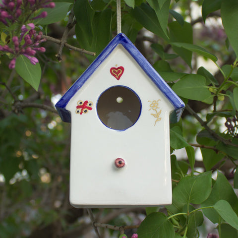 Ceramic Hanging White/Blue Bird House with gold