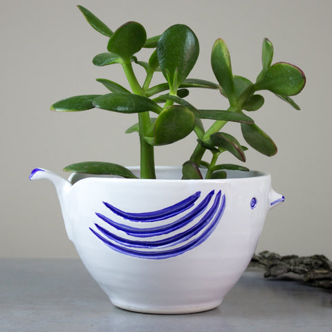 Bird Planter - White with Blue Highlights