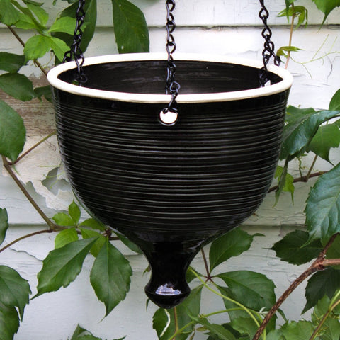 Large Black Hanging Flowerpot with Chain