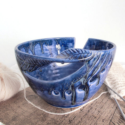 Cobalt blue ceramic yarn bowl, knitting + crochet bowl, twisted leaf design