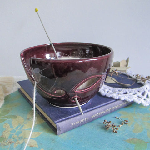 Ceramic Yarn Bowl, Eggplant Purple, Lavender Blush