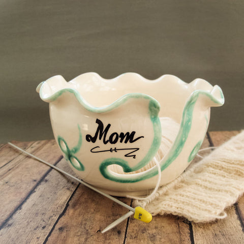 Personalized White Ruffled Ceramic Yarn Bowl
