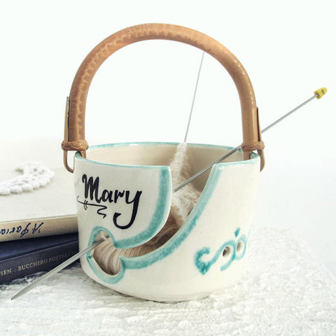 Personalized White  Ceramic Traveling Cane Handle Yarn Bowl