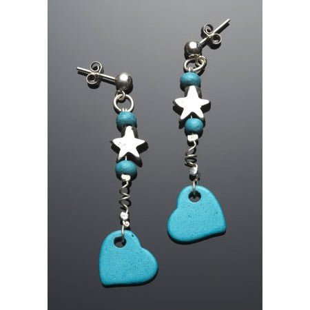 Turquoise Ceramic Heart Earrings