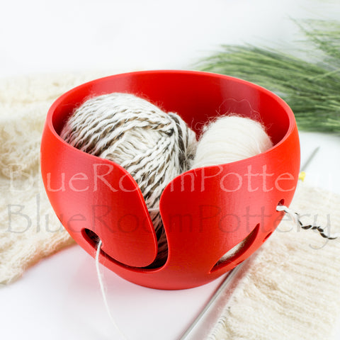 Large Yarn bowl, Red leaf Knitting Bowl Big cake 3D printed eco friendly plastic Travel Crochet bowl knitter gifts