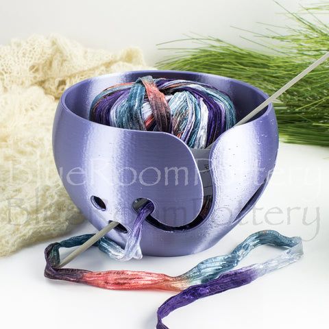 Lavender Blue Yarn bowl leaf Knitting Bowl 3D printed eco friendly plastic knitter gifts