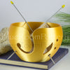 Large Gold Yarn bowl, leaf Knitting Bowl 3D printed eco friendly plastic Travel Crochet bowl knitter gifts Big cake 7 inch Yarn holder