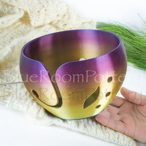 Large Rainbow Yarn bowl One of A Kind leaf Knitting Bowl 3D printed eco friendly plastic Travel Crochet bowl knitter gifts Yarn holder