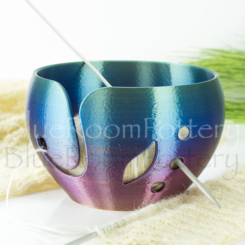 Yarn bowl Blue Purple Rainbow w/ leaf Regular Knitting Bowl 3D printed eco friendly plastic Travel Crochet bowl knitter gifts 5.5 inch Yarn holder