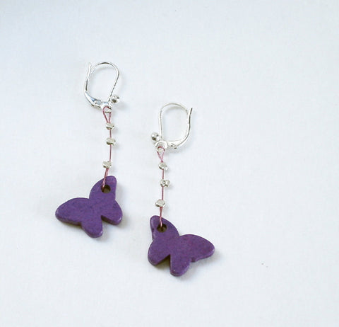 Purple Ceramic Butterfly Earrings