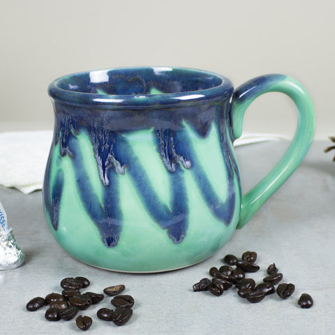 Large 22 oz. Coffee Mug, Tea Cup, Hot Cocoa Big Old Cup, Mint green and blue