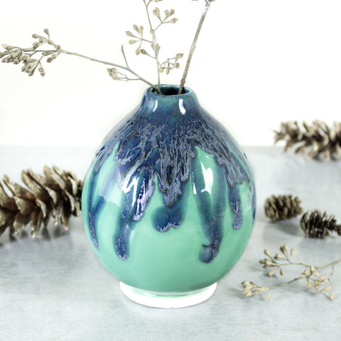 Ceramic Round Bud Vase, Mint green Modern Ceramic Home Decor