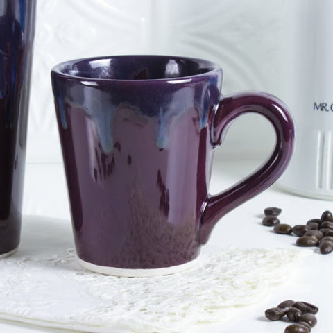 Ceramic Coffee mug, BlueRoomPottery Eggplant Purple cone tea cup