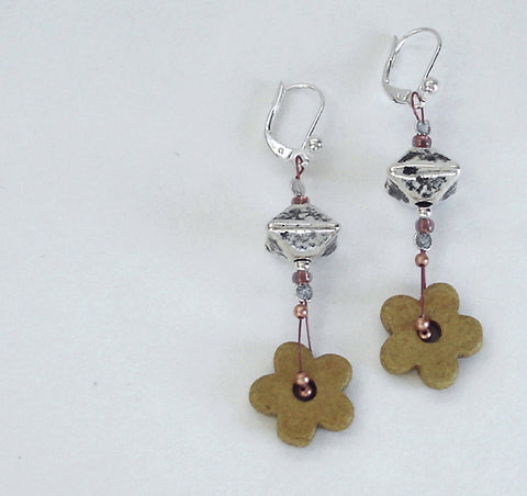 Daisy Flower Earrings, Sterling Silver Jewelry,
