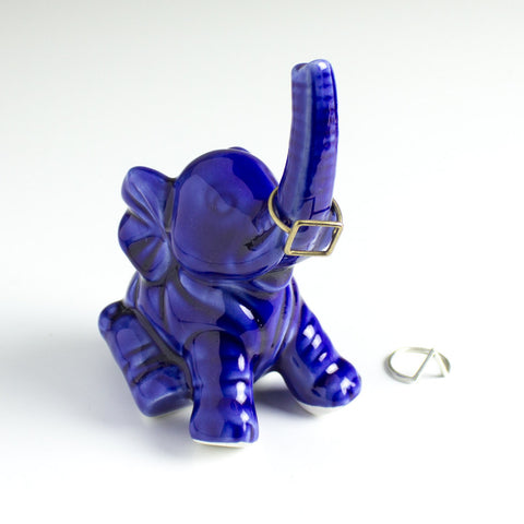 Elephant ring holder Lucky Elephant Cobalt Blue jewelry Ceramic Ring Holder