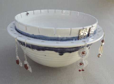 Earring Bowl with blue drip highlights
