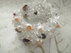 Crocheted Lace Silver Bracelet / Clear Quartz & Pearls