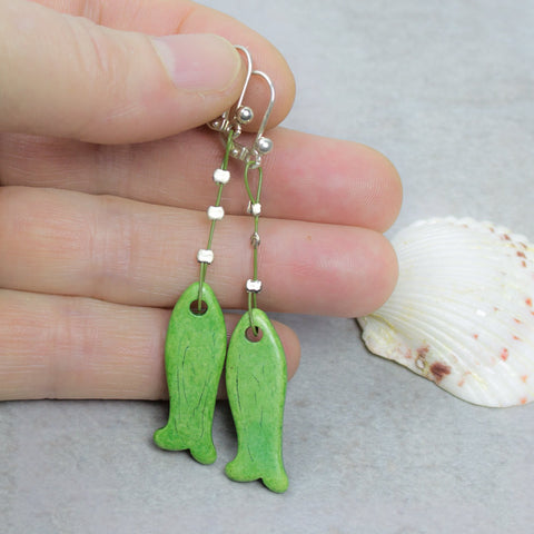 Green Ceramic Fish Earrings