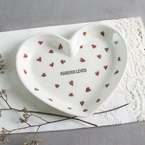White heart wedding ring holder FOREVER LOVED