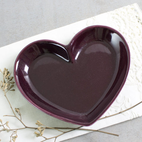 Eggplant Purple heart wedding ring holder