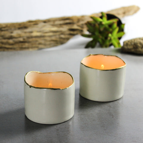 2 White Ceramic candle holders with gold line
