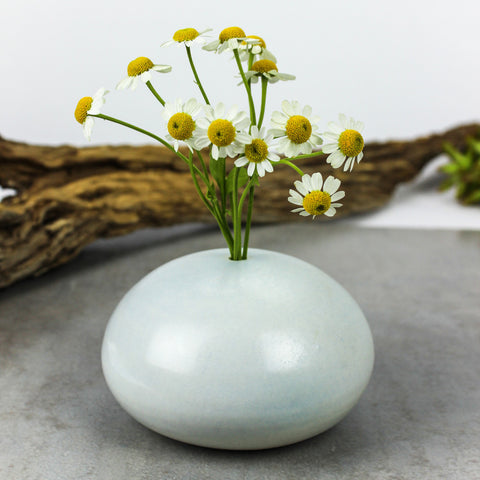 Large White Silky Porcelain Pebble Bud Vase