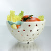 Fresh White Pottery Colander with green twisted leaf handles