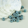 Green Patina Copper Mykonos Greek Ceramic 6X4mm Mini Tube Beads, 12 pcs.