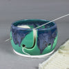 Mint Emerald Green Yarn bowl, Silver Blue Highlights, Knitting bowl by BlueRoomPottery