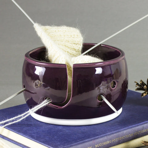 Bright eggplant purple Knitting Bowl, Yarn Bowl, Yarn holder by BlueRoomPottery