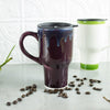 Eggplant Purple Ceramic Coffee Travel mug with handle and black lid