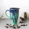 Travel mug with handle and black lid, Mint Green Blue, Handmade