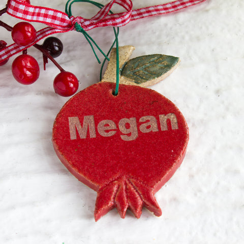 Personalized Red Pomegranate Christmas Ornament